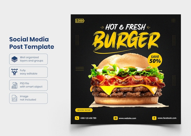Шаблон баннера в социальных сетях delicious food