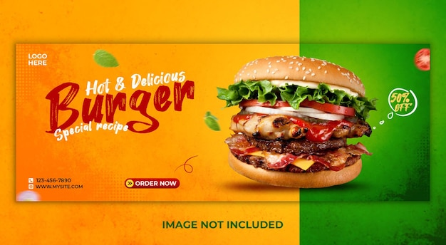 Delicious food social media cover template
