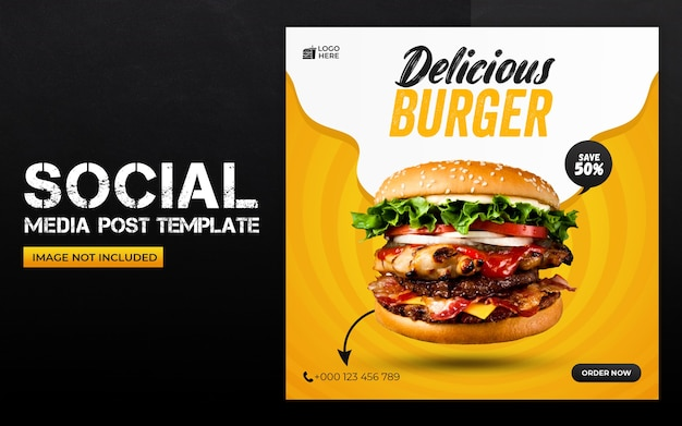 Delicious food social media and instagram post template