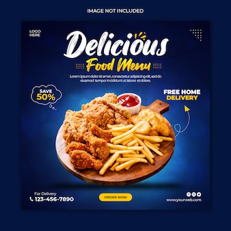 Delicious food social media post banner template