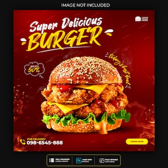 Delicious food social media post template premium