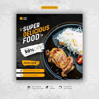 Delicious food social media post template