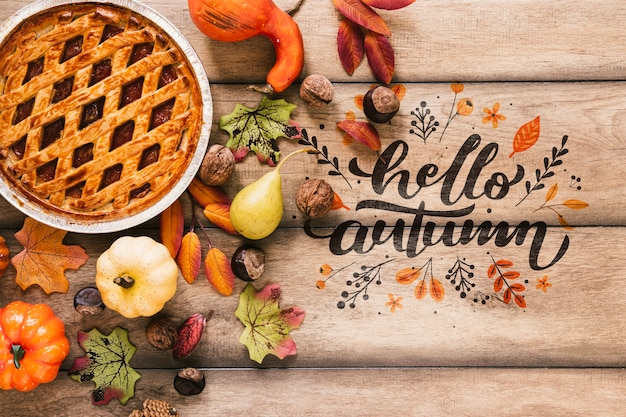 Delicious fresh pie with hello autumn quote