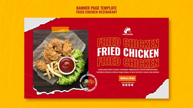 Delicious fried chicken banner template