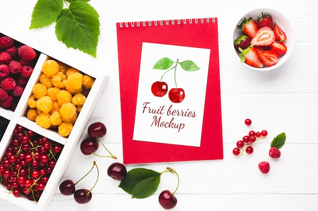 Delicious fruits concept mock-up
