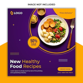 Delicious healthy food social media post template
