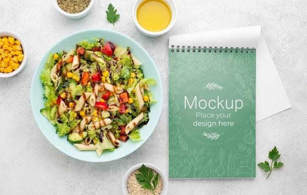 Delicious healthy salad mock-up top view