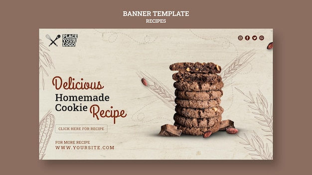 Delicious homemade cookie recipe banner template