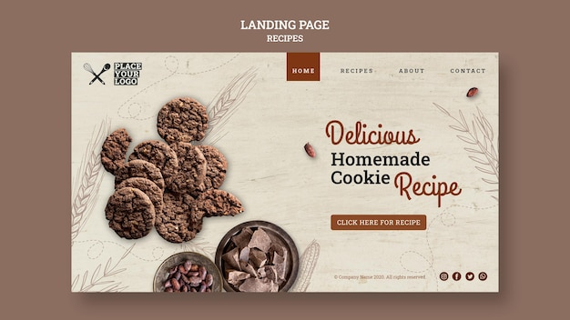 Pagina di destinazione della ricetta deliziosa dei biscotti fatti in casa