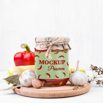 Delicious homemade preserves concept mock-up