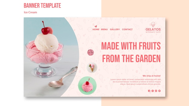 Delicious ice cream banner template