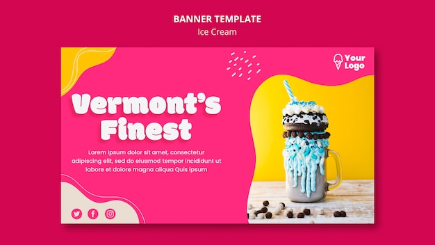 Delicious ice cream in jar with straw banner template