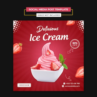 Delicious ice cream social media and instagram post template