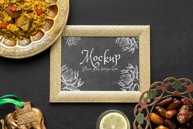 Delicious indian food with mockup