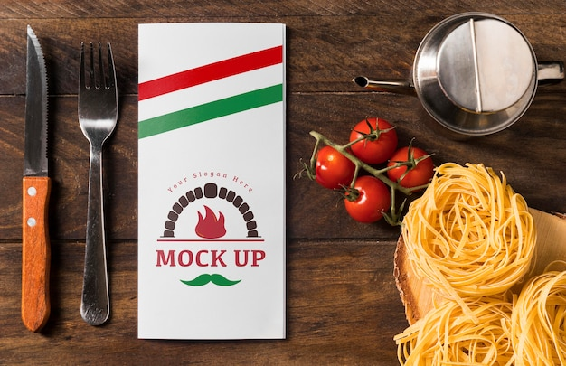 Delicious italian pasta with mock-up