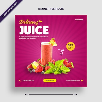 Delicious juice instagram banner or social media post template