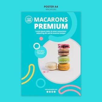 Modello del manifesto di deliziosi macarons
