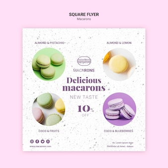 Delicious macarons square flyer template