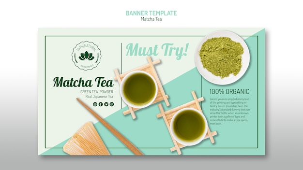 Delicious matcha tea banner template