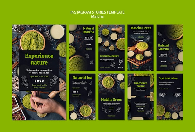 Delicious matcha tea instagram stories template
