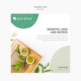 Delicious matcha tea square flyer
