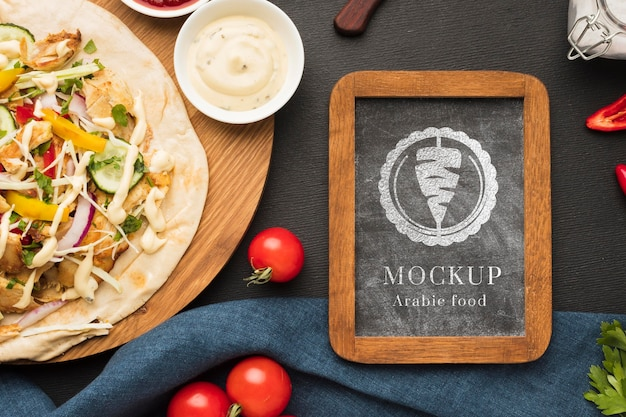 Delicious meat skewers mock-up on cutting board