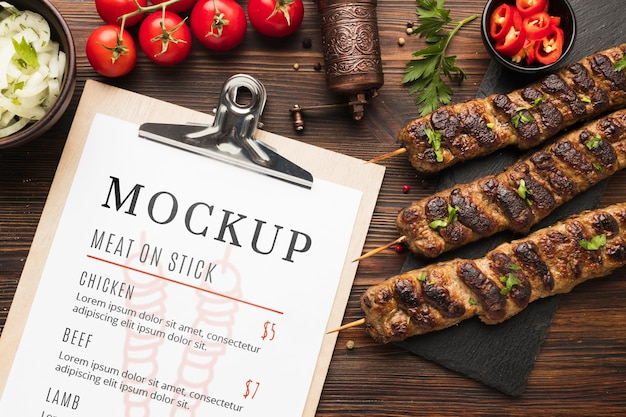 Delicious meat skewers mock-up and menu