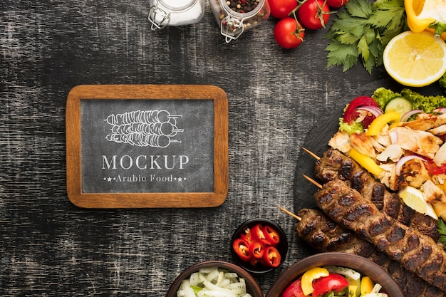 Delicious meat skewers mock-up