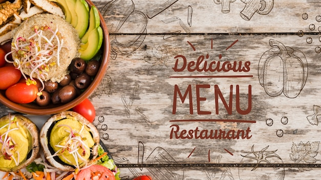 Delicious menu background with copy space