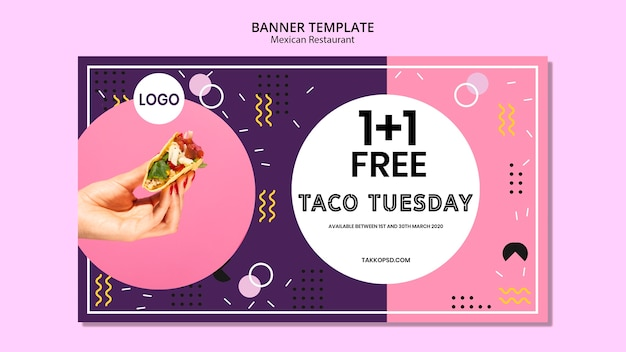Delicious mexican food banner template