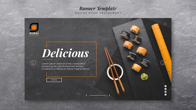 Delicious moody food banner template