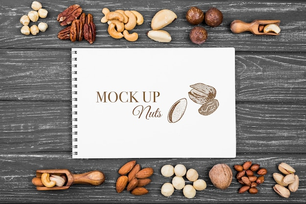 Delicious nuts concept mock-up