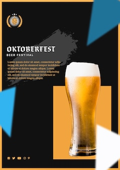 Delicious oktoberfest beer glass with foam