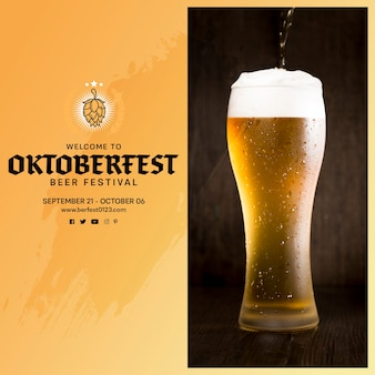 Delicious oktoberfest beer pouring into glass