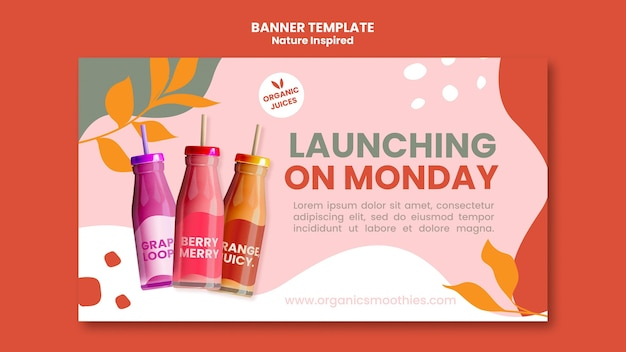 Delicious organic smoothies social banner template