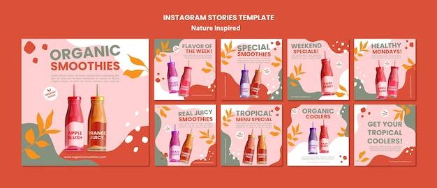 Delicious organic smoothies social media post template