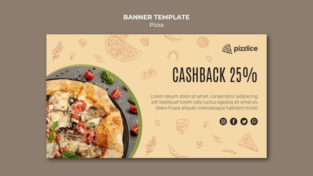 Delicious pizza banner template style