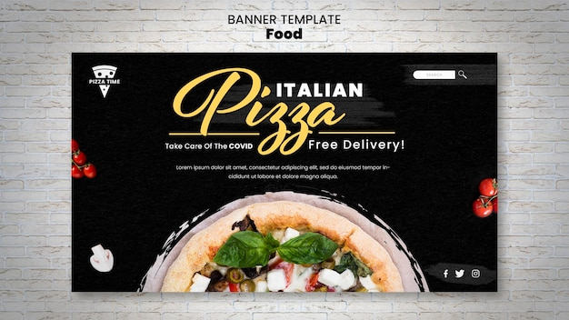 Delicious pizza banner template