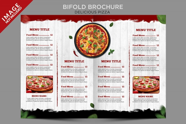 Delicious pizza bifold brochure menu template series