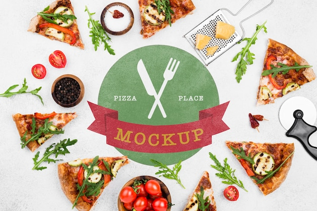 Delicious pizza concept mock-up