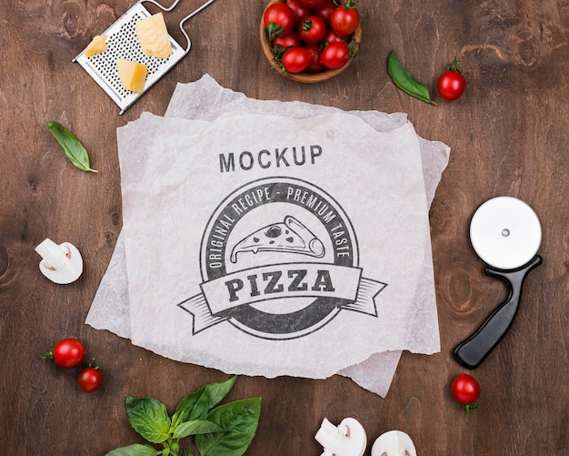 Mock-up di concetto di pizza deliziosa
