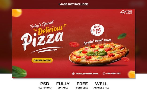 Delicious pizza fast food landing page banner advertisement template