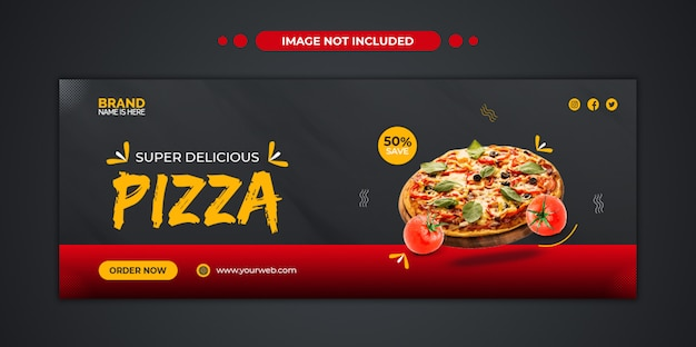 Delicious pizza food menu facebook cover and web banner template
