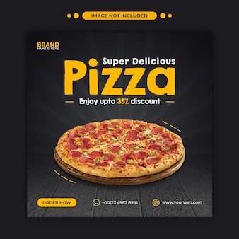 Вкусная пицца продвижение меню еды instagram пост и шаблон веб-баннера