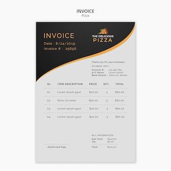 The delicious pizza invoice