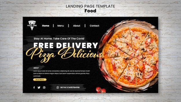 Delicious pizza landing page template