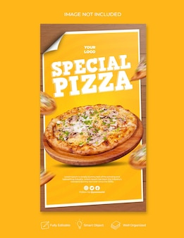 Вкусное меню пиццы instagram и шаблон истории в социальных сетях