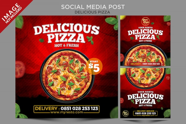 Серия постов в социальных сетях delicious pizza