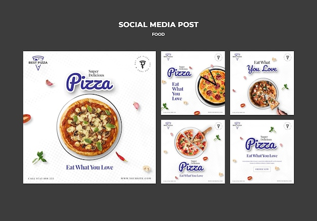 Delicious pizza social media post template
