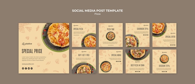 おいしいピザのソーシャルメディアの投稿